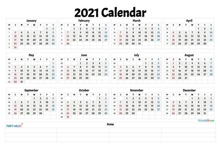 Free Printable 2021 Yearly Calendar With Week Numbers - 21Ytw12 In 2020   Free Printable