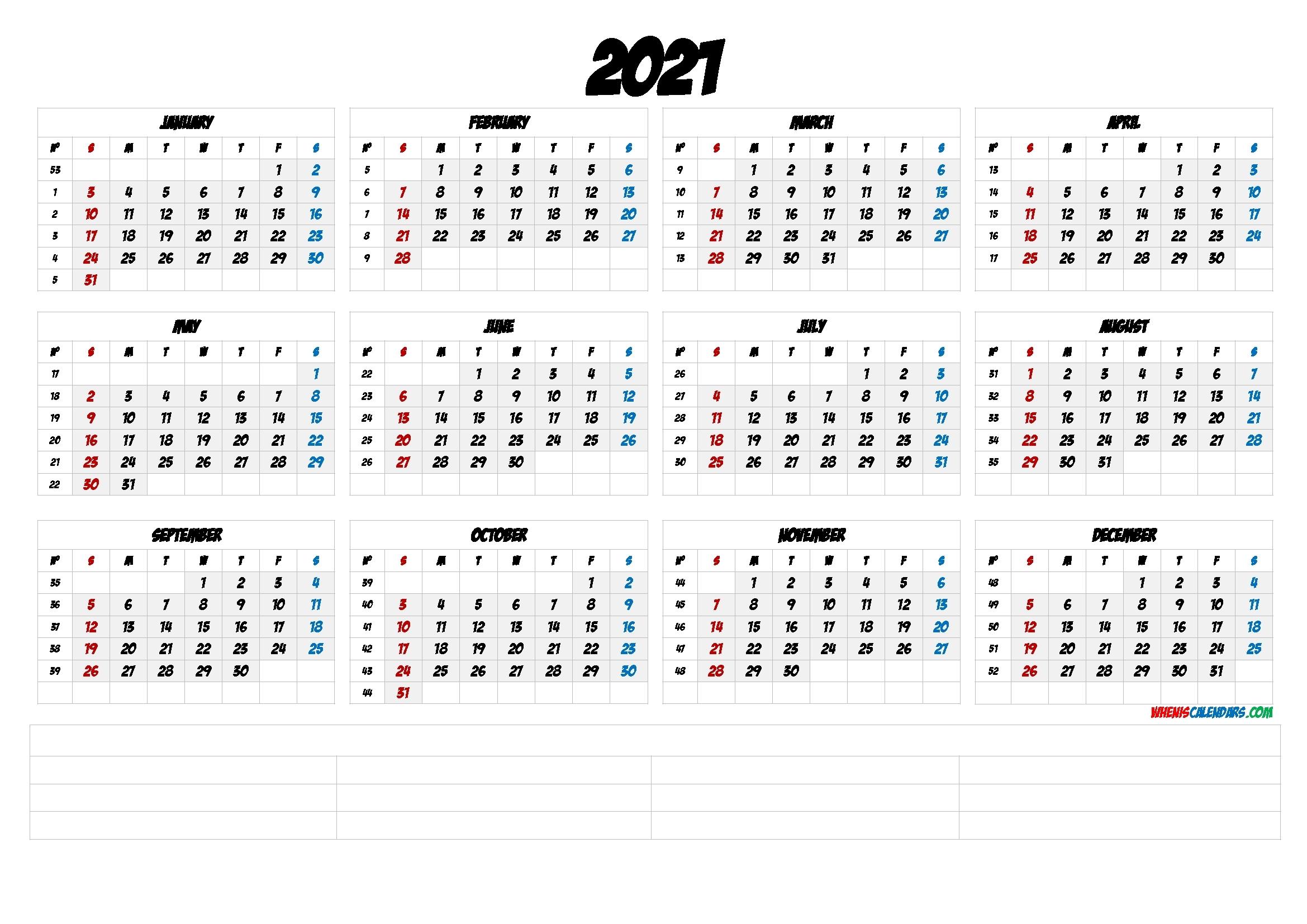 Free Printable 2021 Yearly Calendar With Week Numbers (6 Templates) - Free Printable 2020