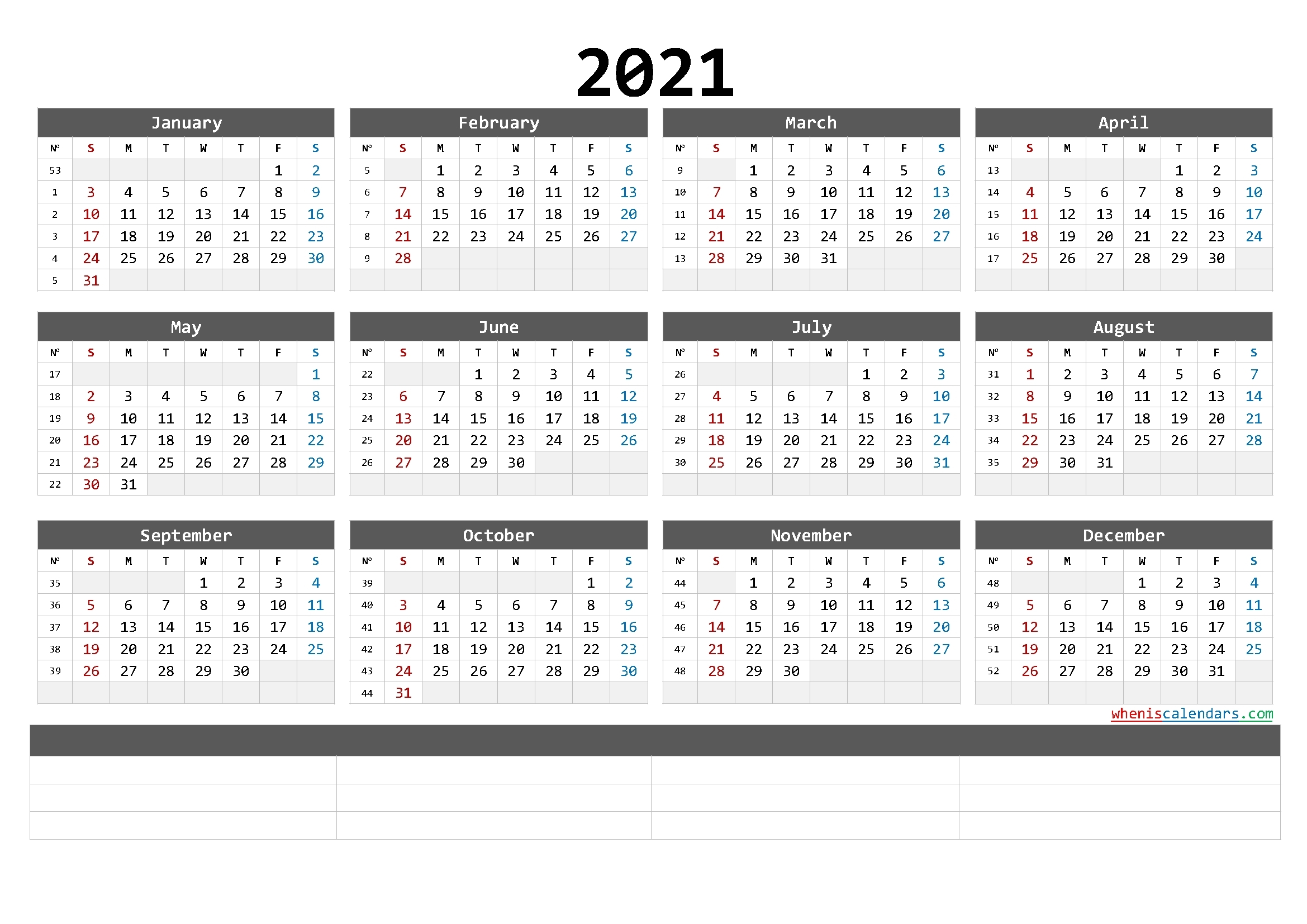 Free Printable 2021 Yearly Calendar With Week Numbers (6 Templates)