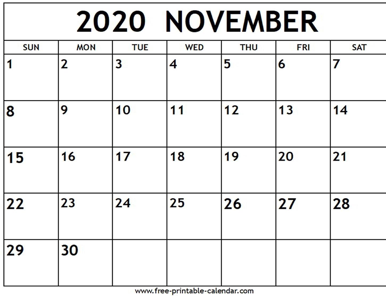 Free Printable Calendar November 2020 Landscape | Calendar Printables Free Templates