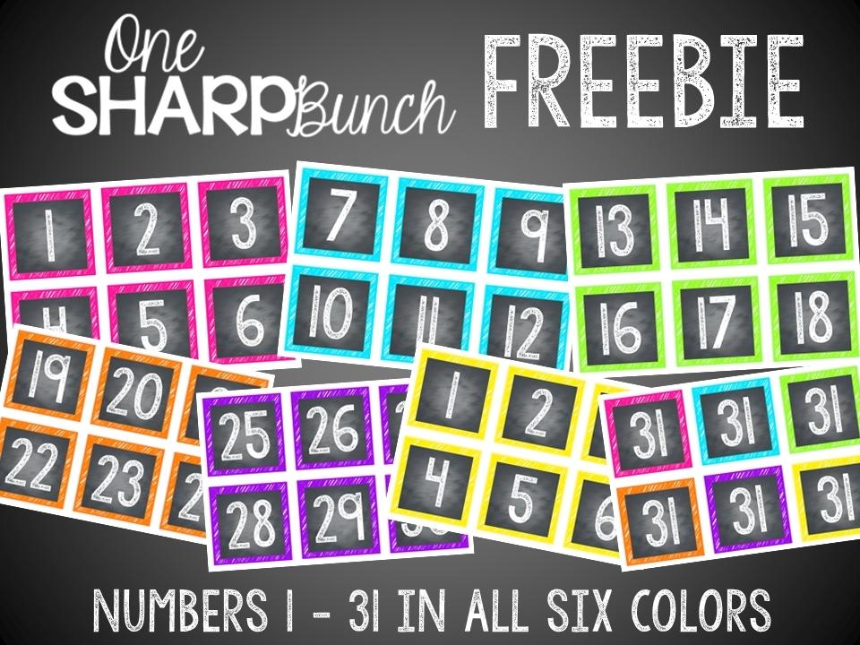 Free Printable Calendar Numbers 1-31 :-Free Calendar Template
