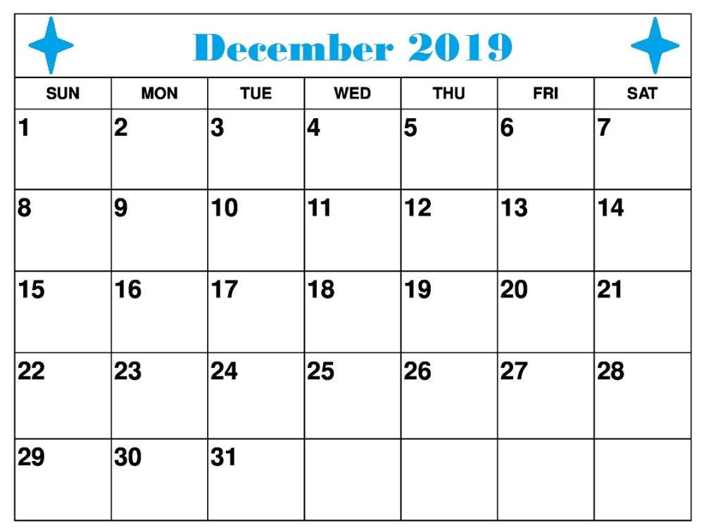 Free Printable December 2019 Calendar Pdf, Word, Excel | 2019 Calendar, Landscape Calendar, Calendar