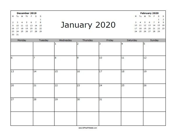 Free Printable January 2020 Calendar. Print The Free January 2020 Calendar And Use To Get Orga