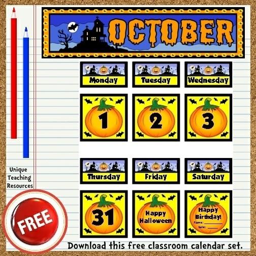 Free Printable October Classroom Calendar For School Teachers