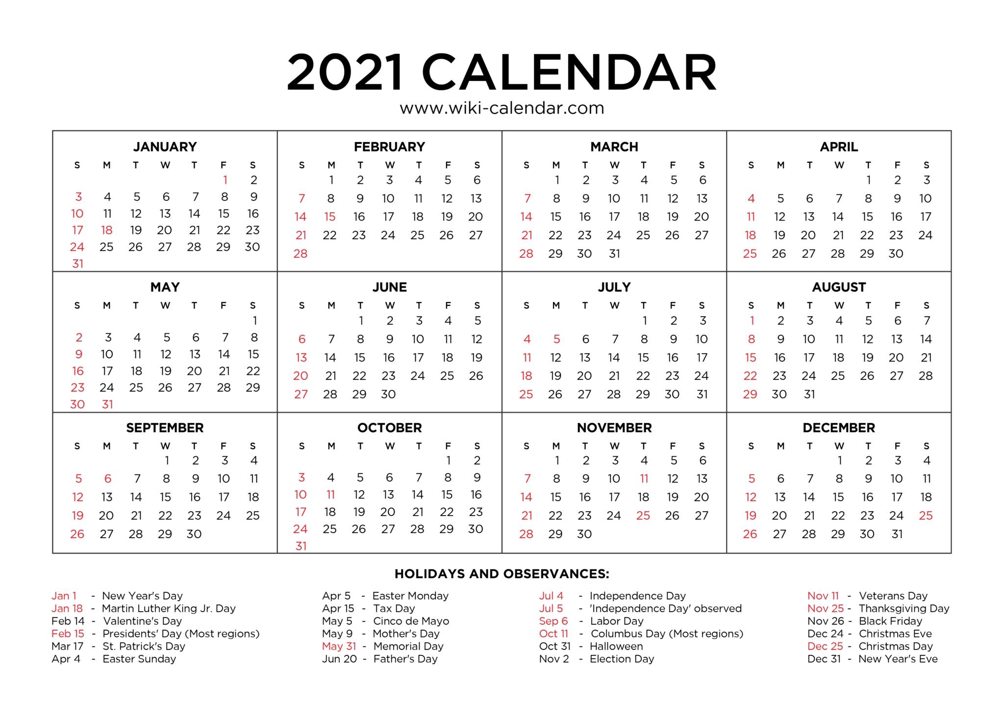 Free Printable Year 2021 Calendar With Holidays Regarding 8.5 X 11 Printable Calendars