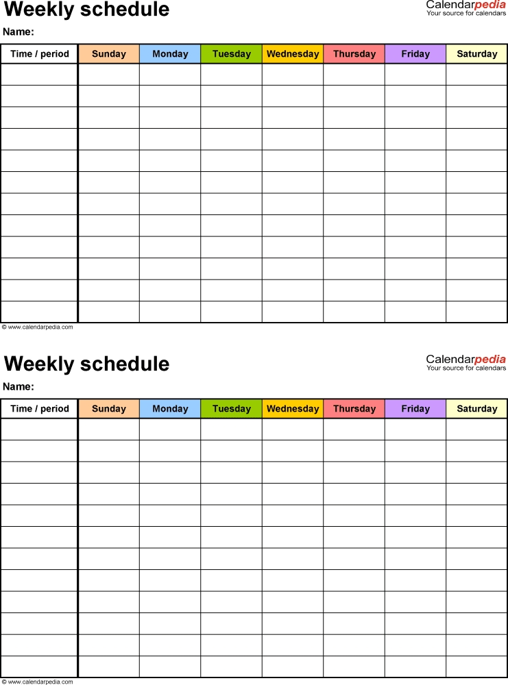 Free Weekly Schedule Templates For Word - 18 Templates   Daily Schedule Template, Timetable