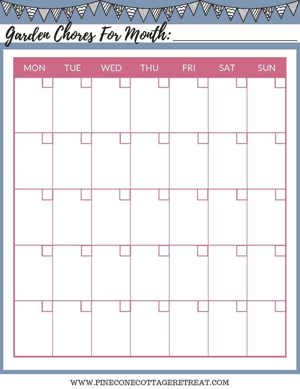 Garden Chores Calendar Printable - Pinecone Cottage Retreat