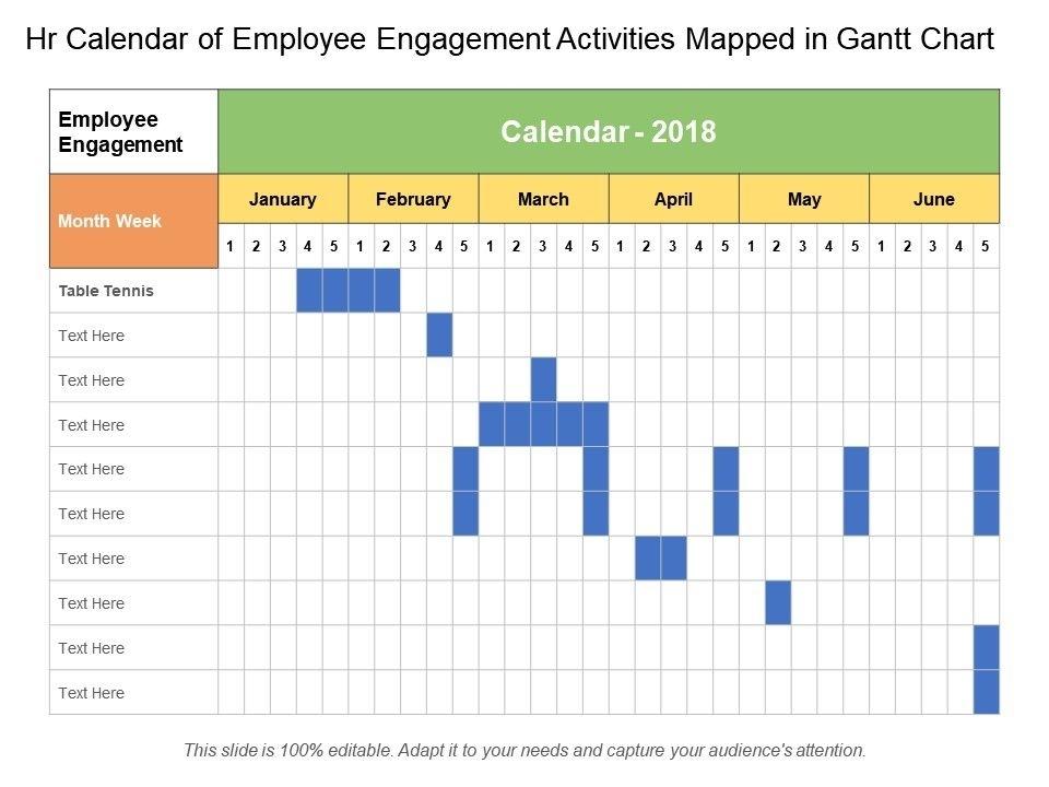 Hr Calendar Of Employee Engagement Activities Mapped In Gantt Chart | Powerpoint Templates
