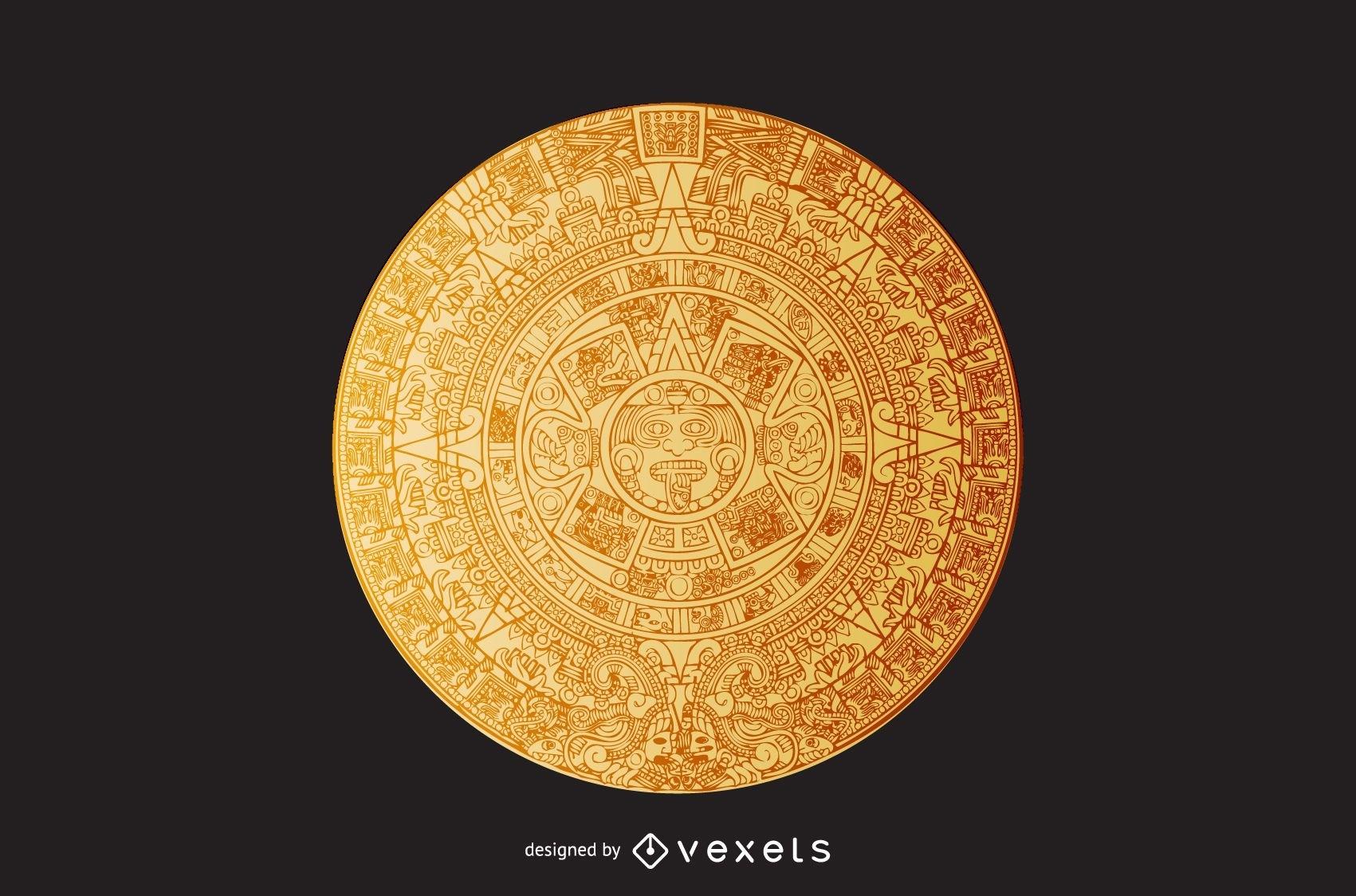 Ilustración Del Calendario Azteca - Descargar Vector