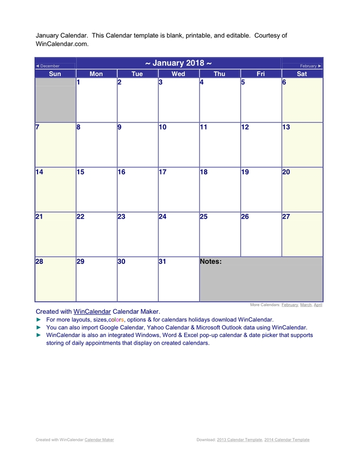 January 2018 Calendar In Word And Pdf Formats