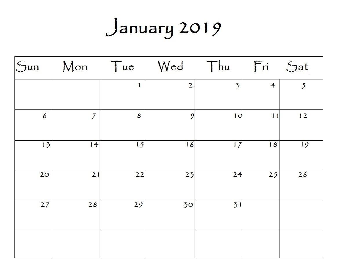 January 2019 Calendar Word | Calendar Printables, Calendar Word, Print Calendar