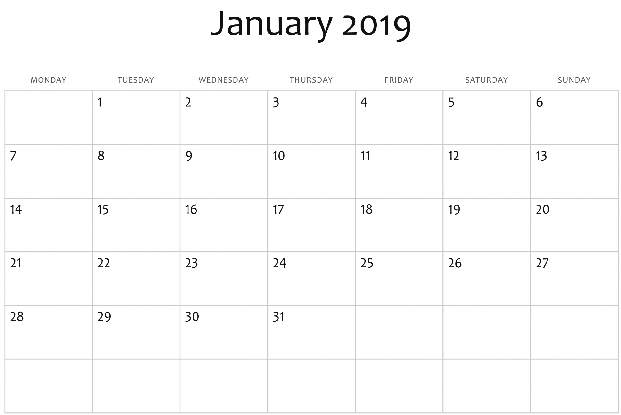 January 2019 Printable Calendar In Pdf Word Excel With Holidays | Monthly Calendar Template