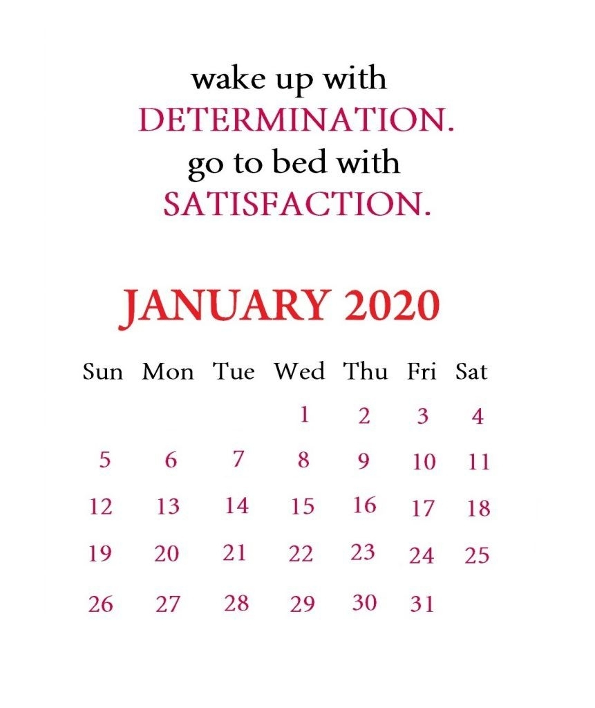 January 2020 Motivational Calendar   Calendar Template, Monthly Quotes, Printable Calendar Template