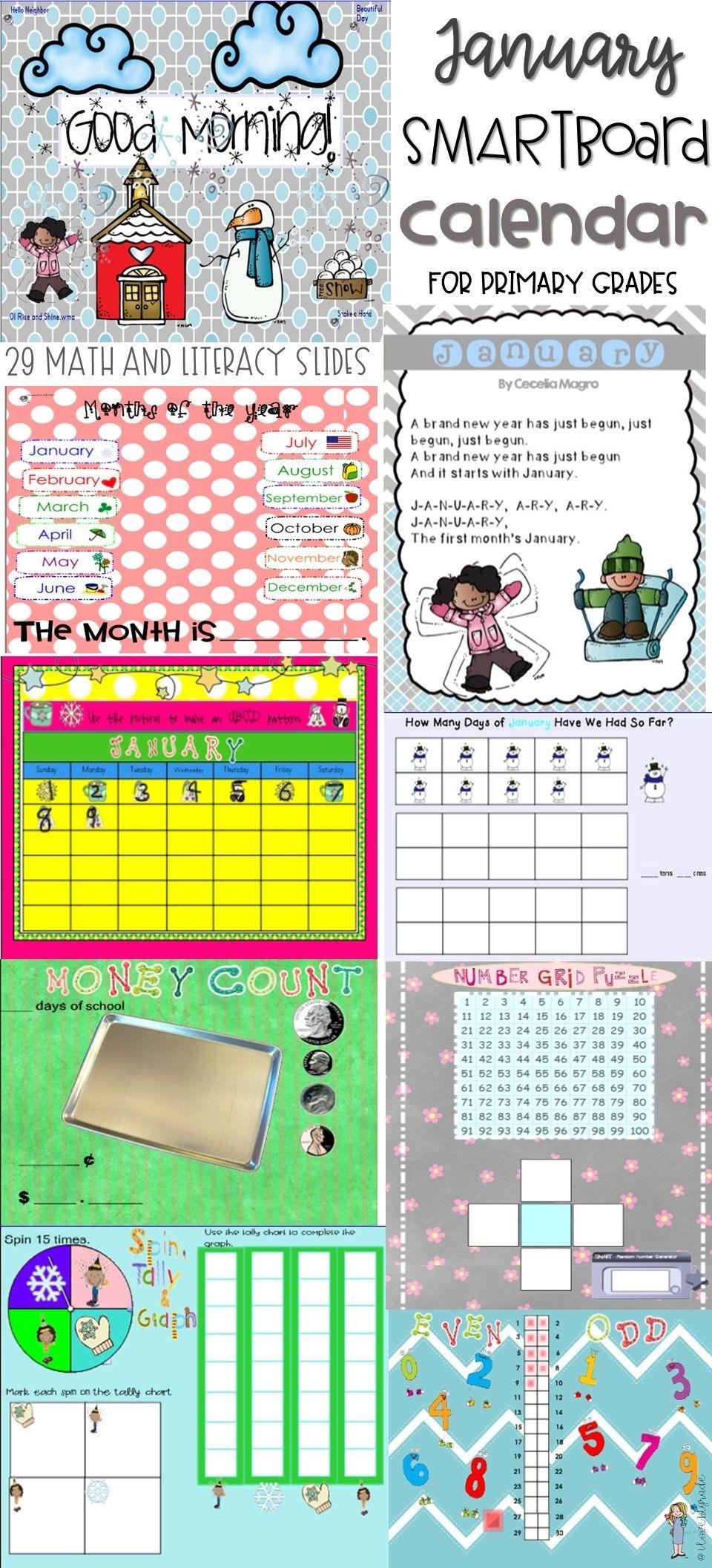 January Smartboard Calendar Morning Meeting | Smartboard Calendar, Smart Board, Nonsense Words