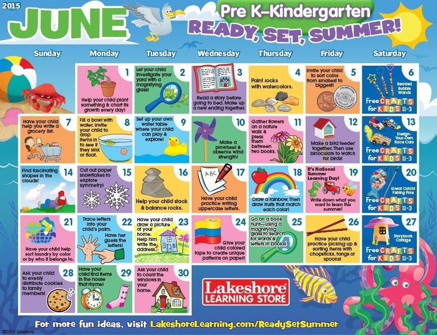 June 2015 Pre K-Kindergarten Activity Calendar | Summer Learning, Preschool Calendar, Lakeshore