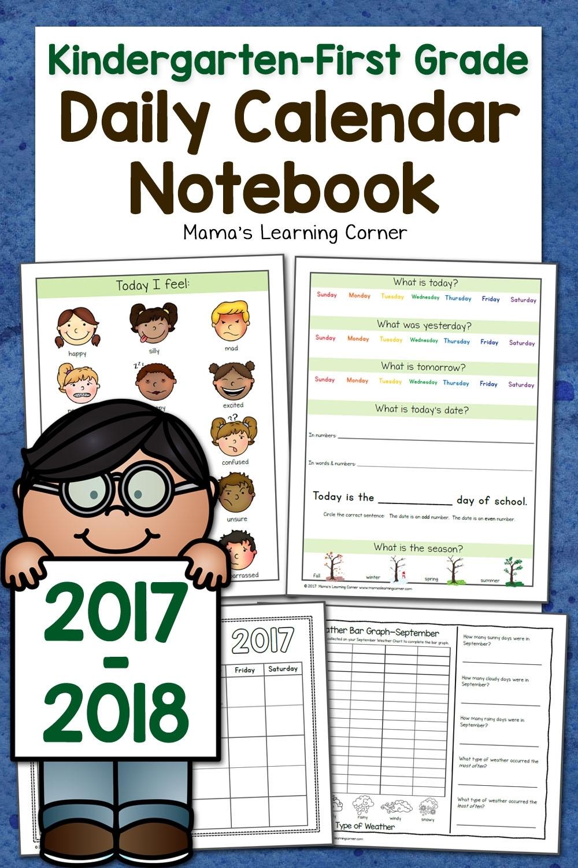Kindergarten-First Grade Calendar Notebook - Mamas Learning Corner
