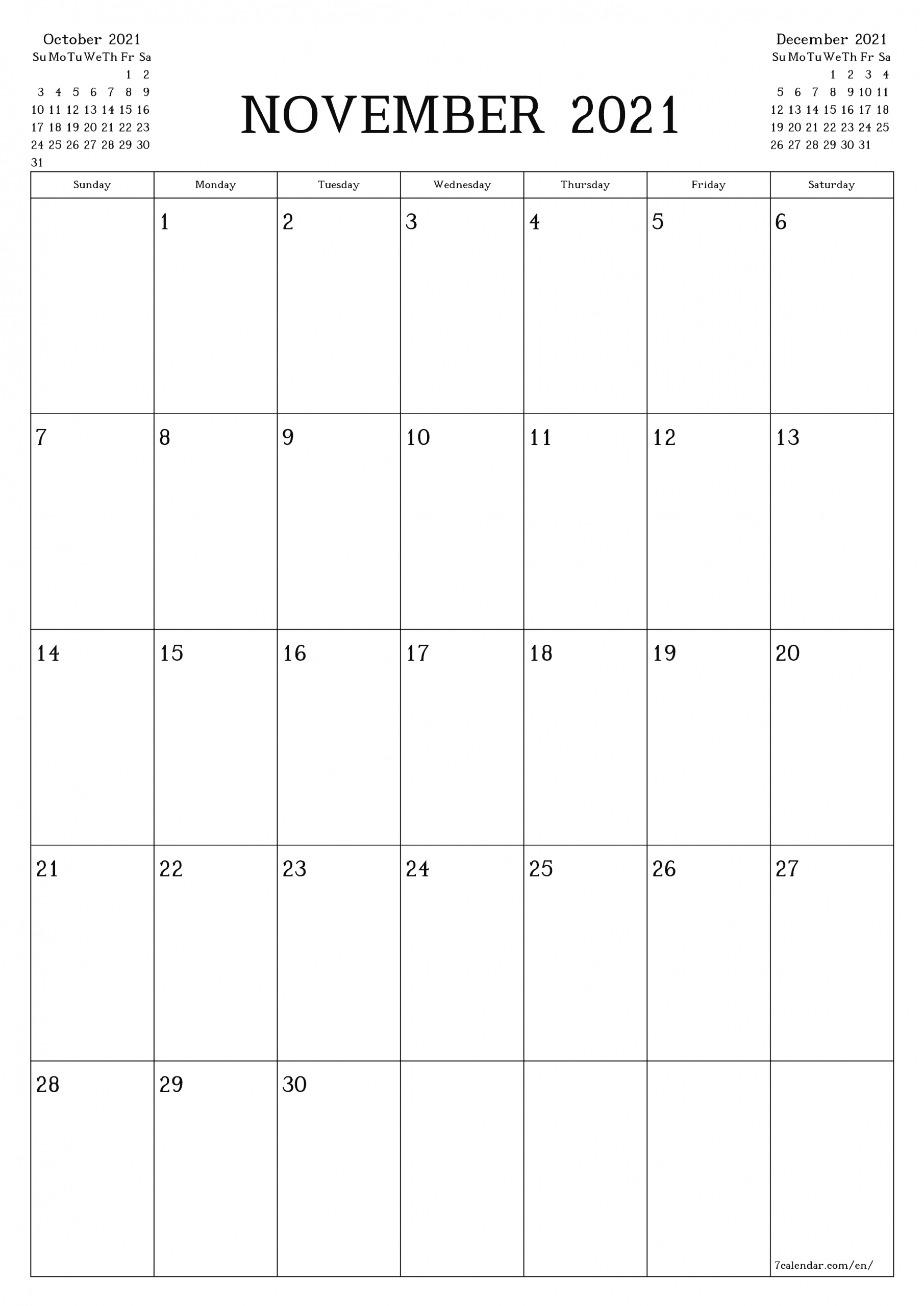 Legal Size November 2021 Calendar   Blank Calendar Template, Printable Blank Calendar, Calendar