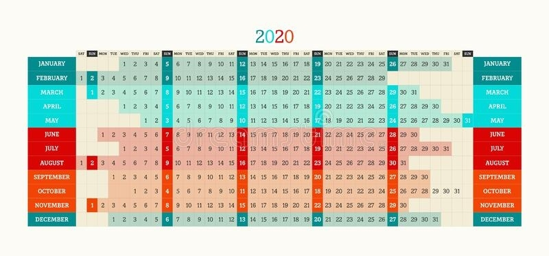 Linear Calendar 2020. Vector Illustration. Template Diary Planner Stock Vector - Illustration Of