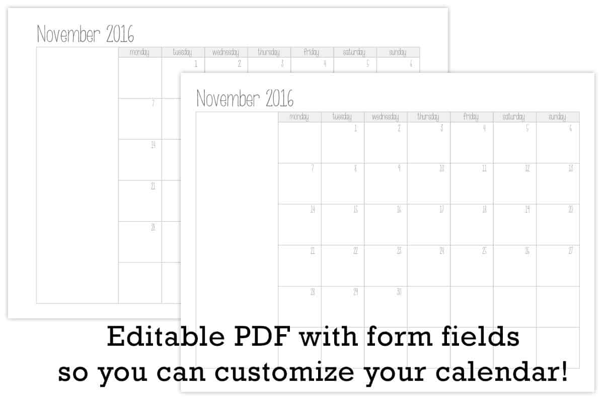 Make Your Own Monthly Calendar Printable | Tortagialla