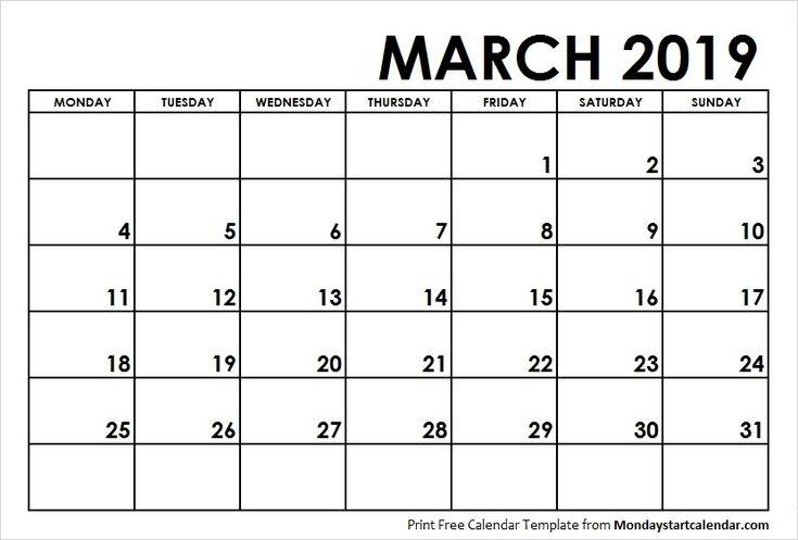 March 2019 Calendar Monday Start   Weekly Calendar, School Calendar, 2019 Calendar