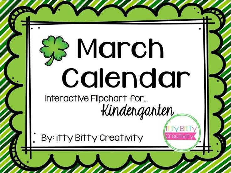 March Calendar For Activinspire And Smartboard | Calendar Songs, Interactive Calendar, Kindergarten