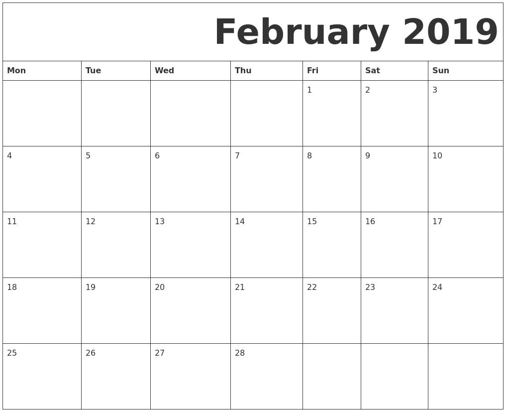 Monday - Sunday Calendar Template - Calendar Inspiration Design