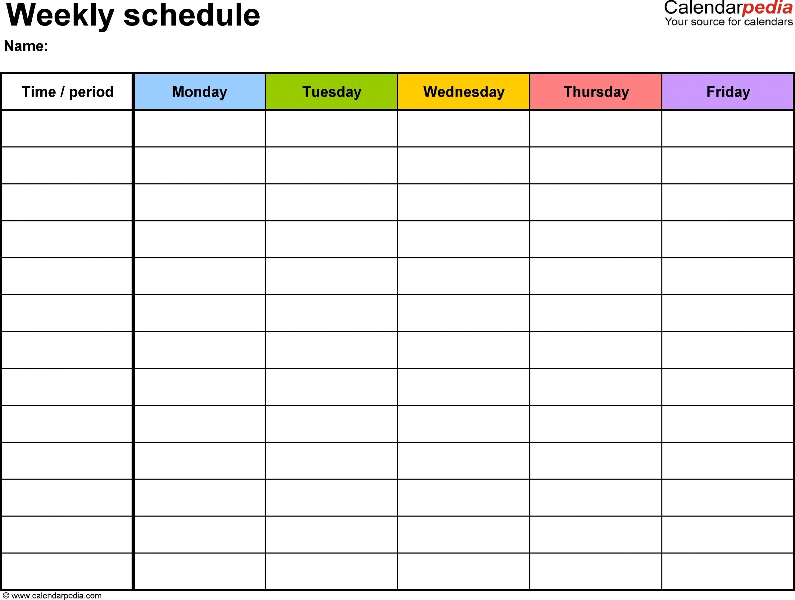 Monday Through Friday Free Printable Calendar :-Free Calendar Template