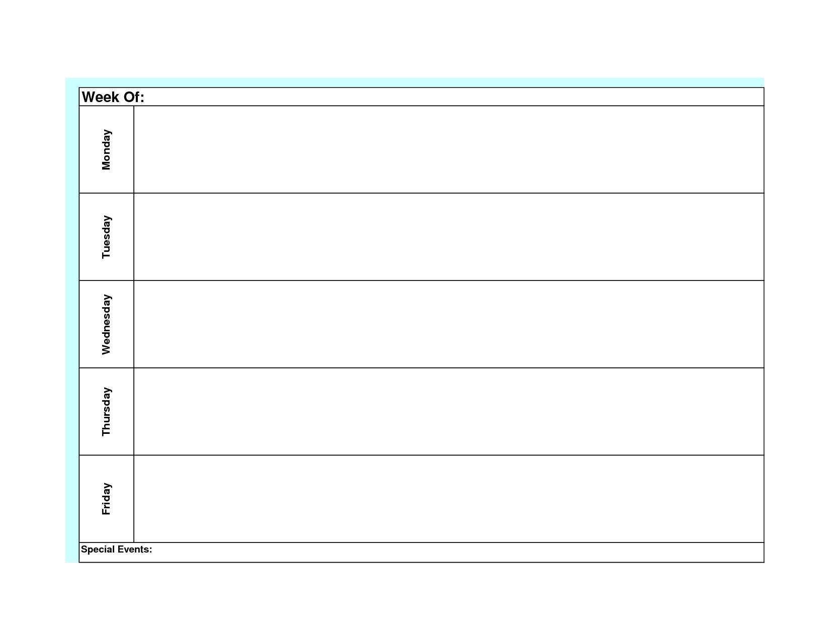 Monday Through Friday Free Printable Calendar In Word :-Free Calendar Template
