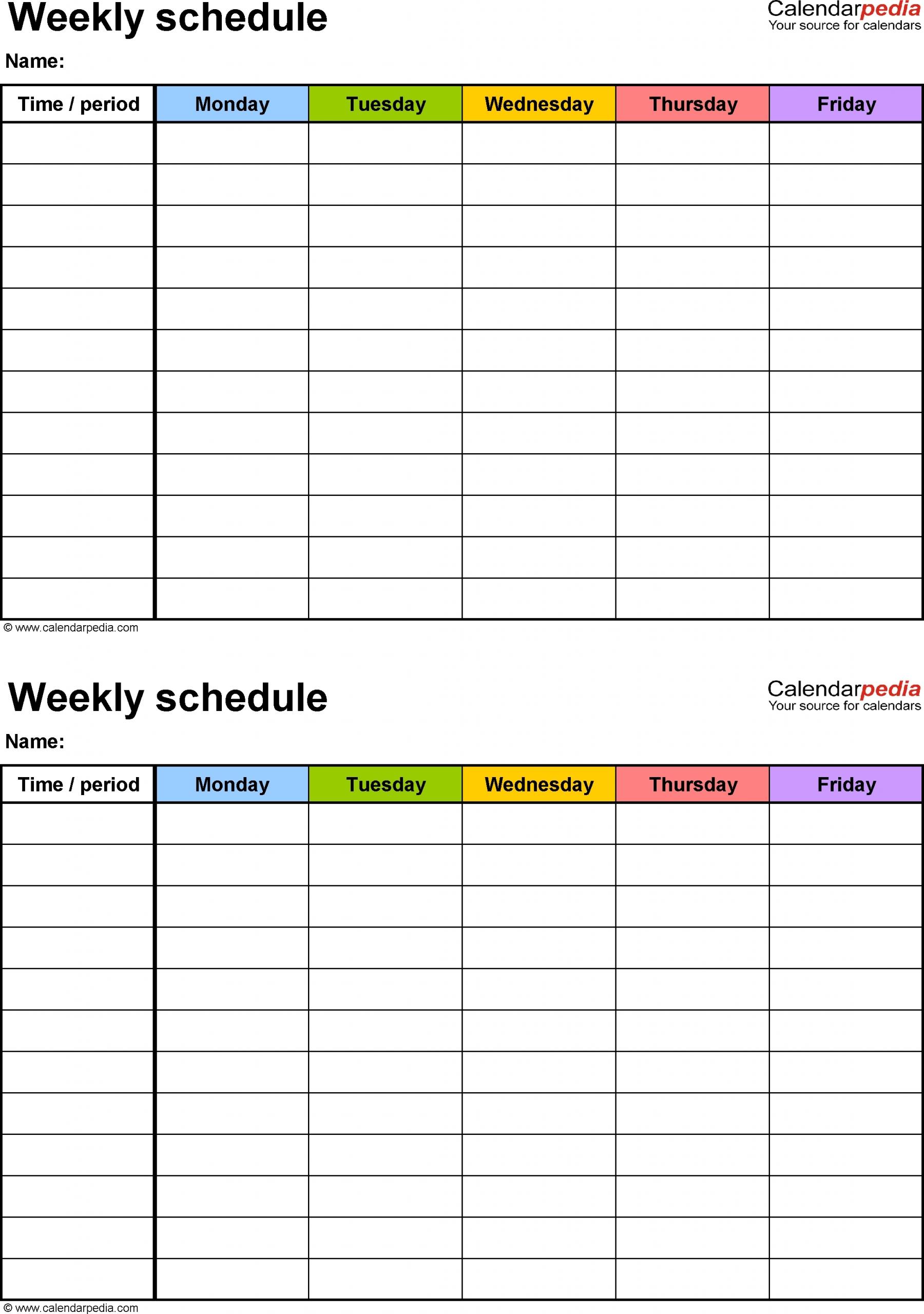 Monday Thru Friday Schedule Template   Calendar Template Printable