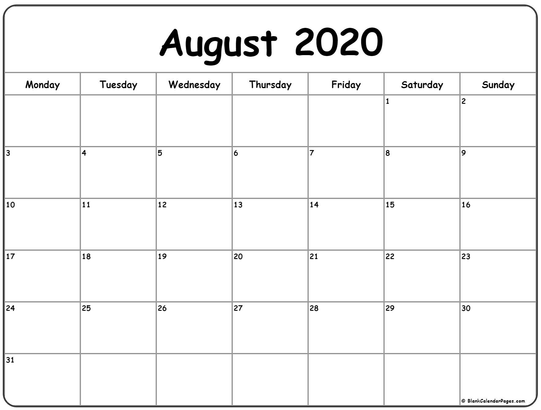 Monday Thru Sunday Calendar Template   Ten Free Printable Calendar 2020-2021