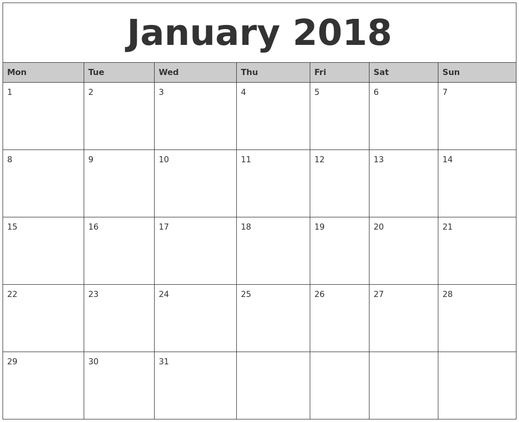 Monday Thru Sunday Calendars :-Free Calendar Template