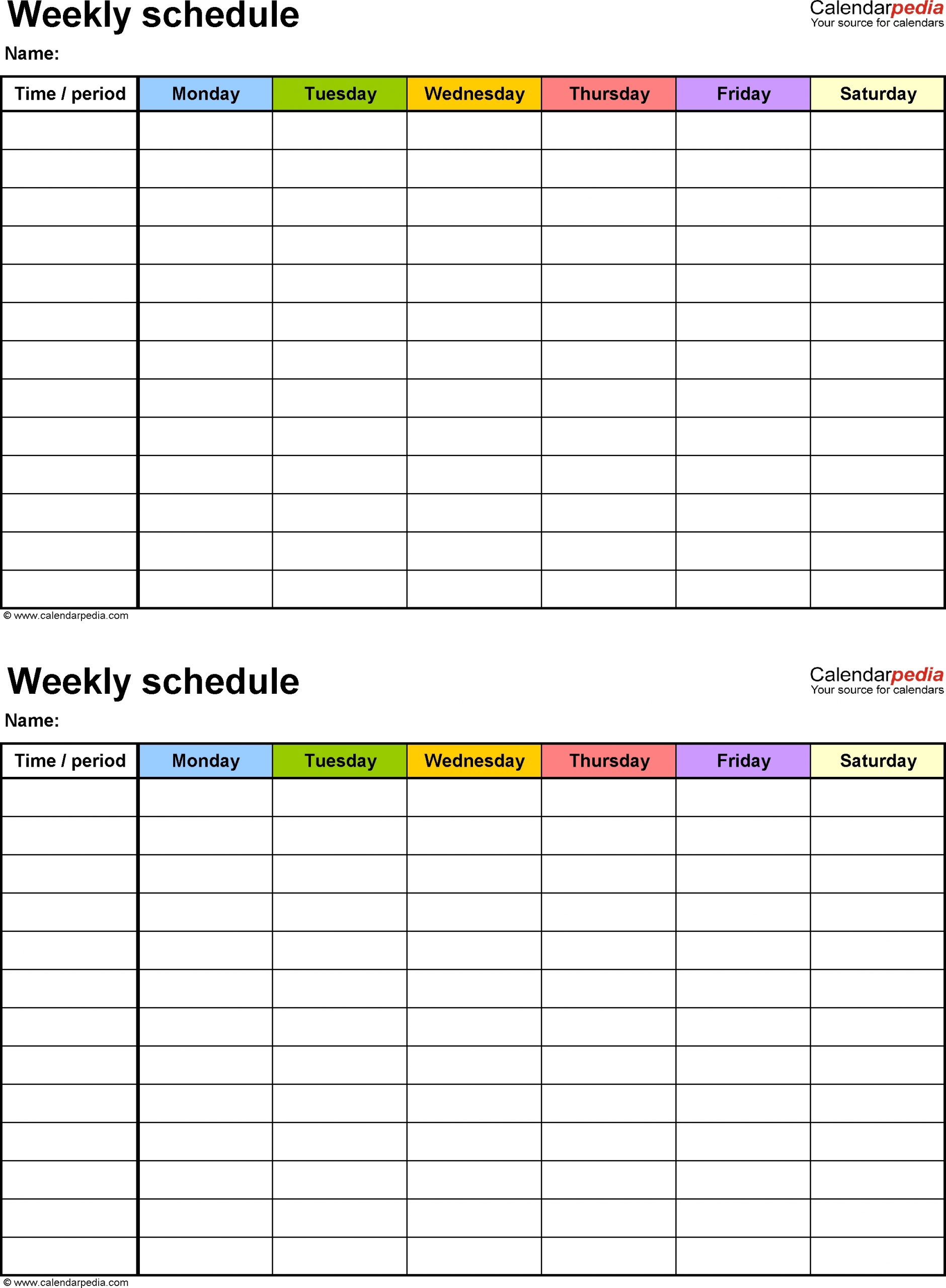 Monday To Sunday Weekly Planner Template Word   Calendar Template Printable