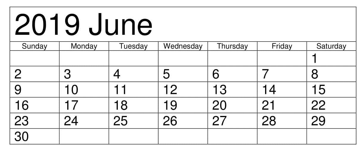 Monthly Calendar June 2019   Blank Calendar June 2019 For Pdf Word Excel   Calendar June, June