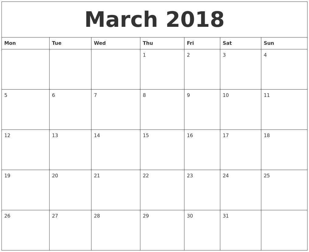Monthly Calendar Starting With Monday - Calendar Printable Week