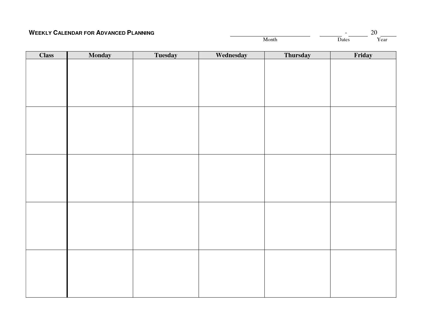 Monthly Calendar Template Monday To Friday - Template Calendar Design