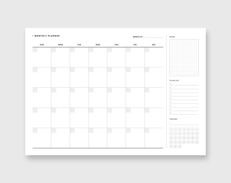 Monthly Overview Undated Blank Calendar Us Letter A4 Size | Etsy