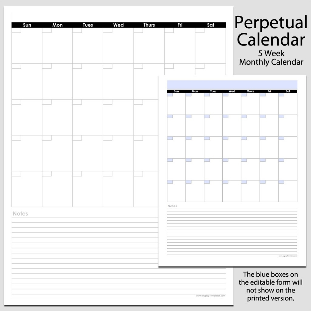 Monthly Perpetual Calendar With Notes In Portrait - 8 1/2″ X 11″ | Legacy Templates
