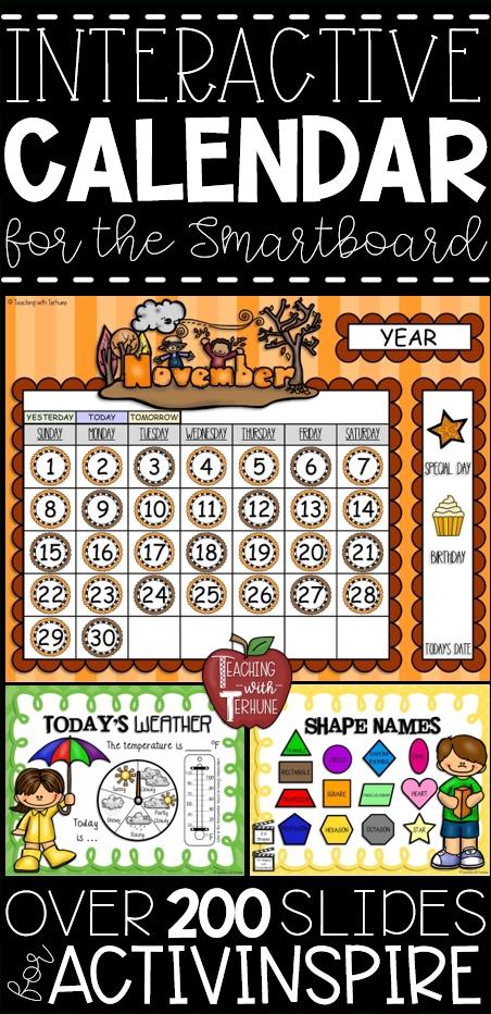 Morning Calendar Lessons For The Smartboard {Activinspire Flipchart Software} | Morning Calendar