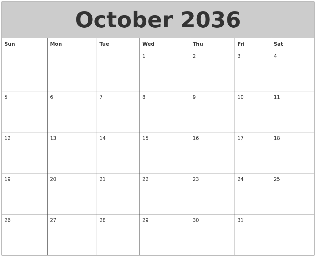 November 2036 Free Calendar Template