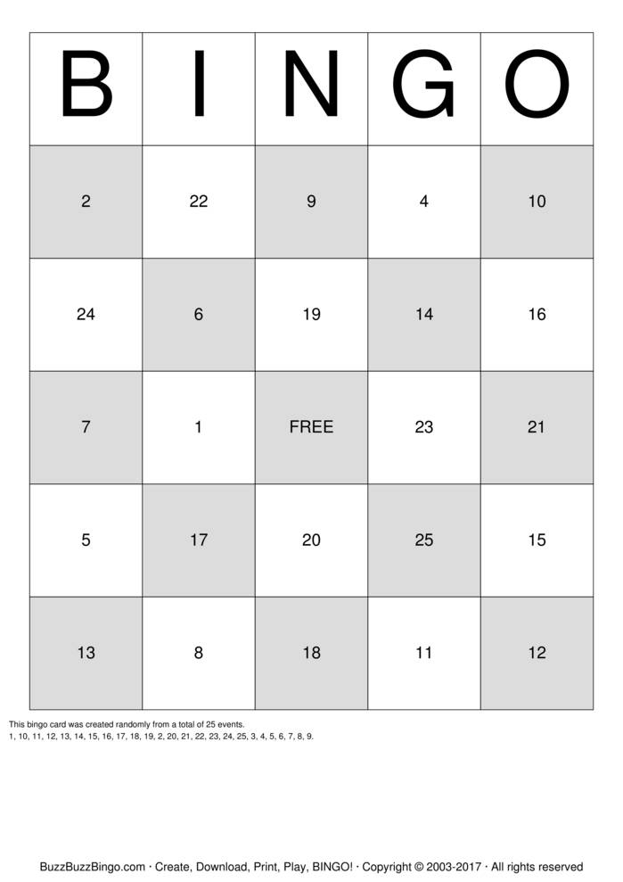 Numbers 1-31 Bingo Cards To Download, Print And Customize!