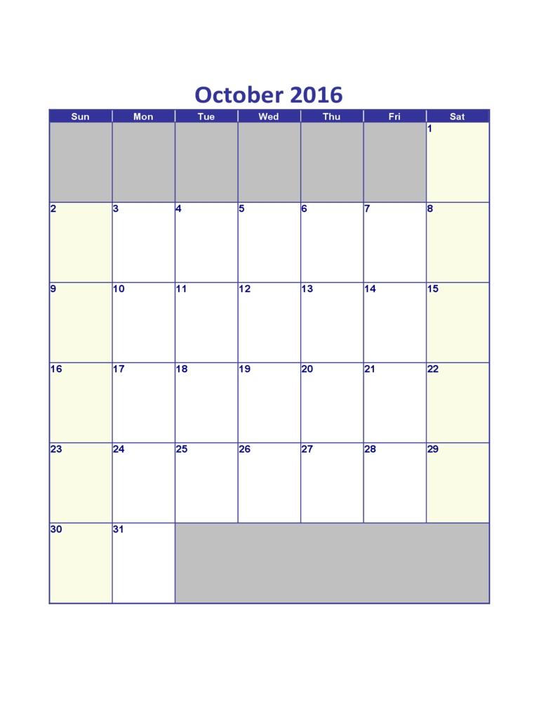 October 2016 Calendar - Edit, Fill, Sign Online | Handypdf