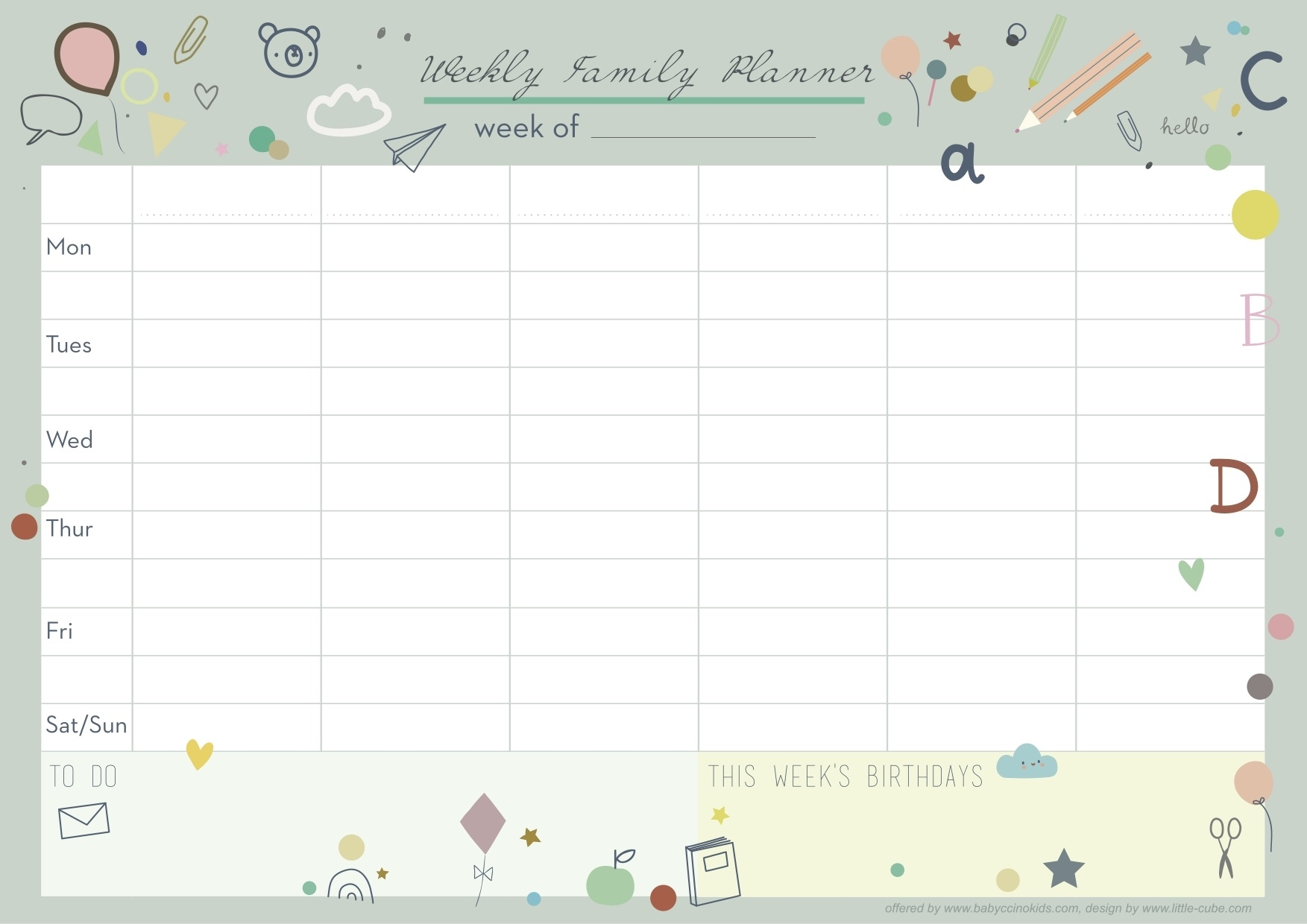 Organise Your Life With Our Newly Designed Weekly Planner! Babyccino Kids: Daily Tips, Children