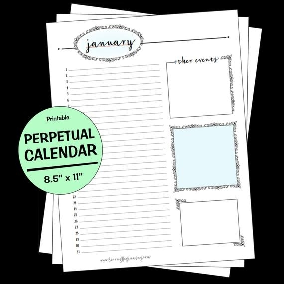 Perpetual Birthday Calendar Letter Size Multiple Colors