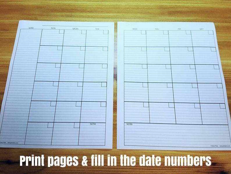 Perpetual Calendar Planner Pages Diy Printable Instant | Etsy