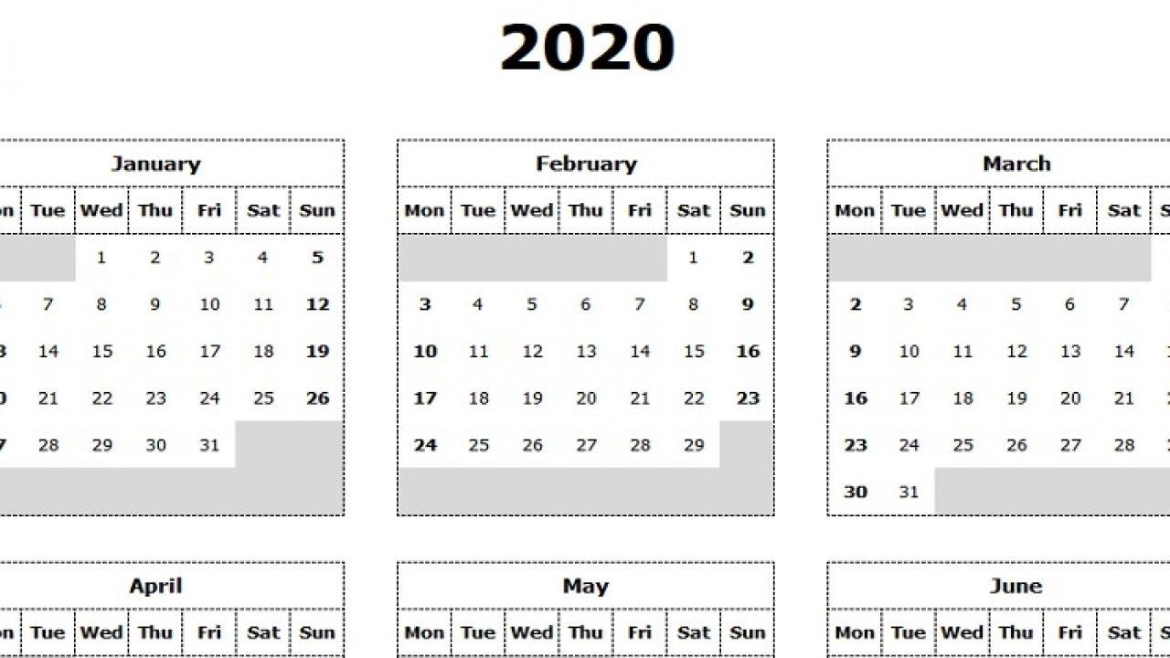 Pick 2020 Monday Through Sunday Calendar Template | Calendar Printables Free Blank