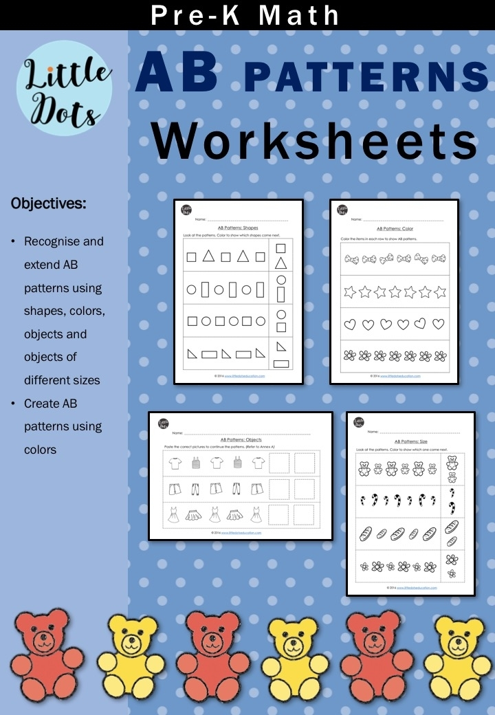 Pre-K Math Ab Patterns Worksheets And Activities | Little Dots Education | Preschool Printables