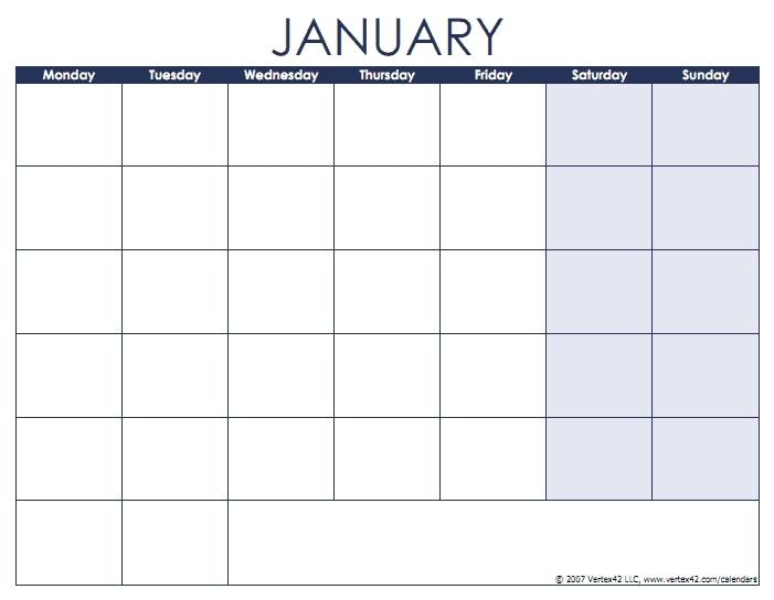 Print Monday Through Sunday Calendar Photo   Calendar Template 2020