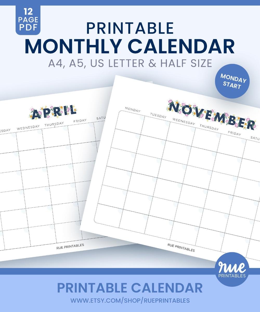 Printable 12 Month Monday Start Blank Calendar With Floral | Etsy | Blank Calendar, 12 Month
