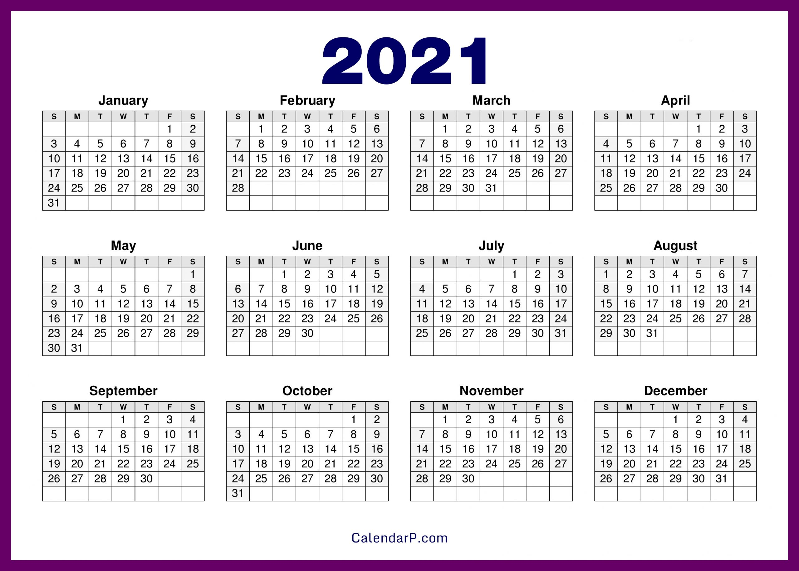 Printable 58 2021 Calendar - Free Free Printable 2021 Calendar With Holidays - Monthly And