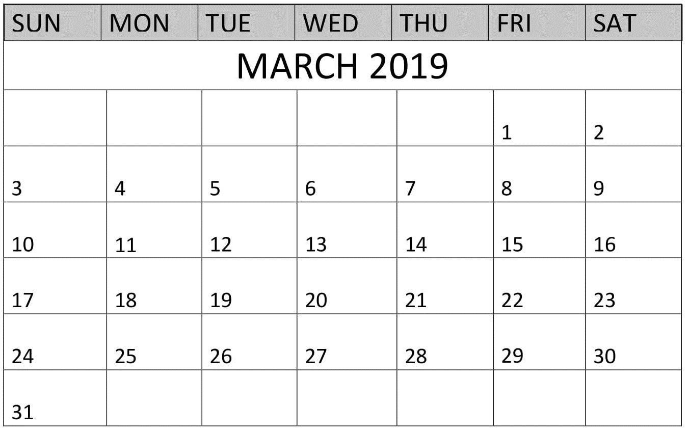 Printable Calendar March 2019 Landscape   Calendar March, Printable Calendar, Calendar